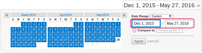 A long date range example from 1 December 2015 to 27 May 2016.