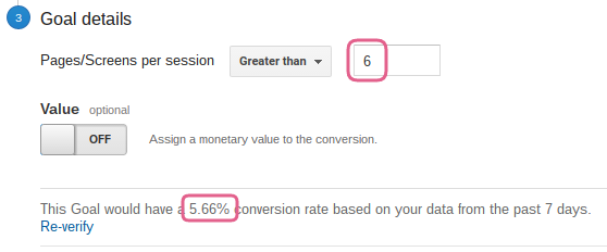 This goal verifies with a 5.66% conversion rate.