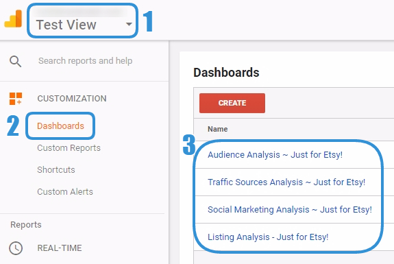 Screenshot of how to find the Dashboards once installed in Google Analytics