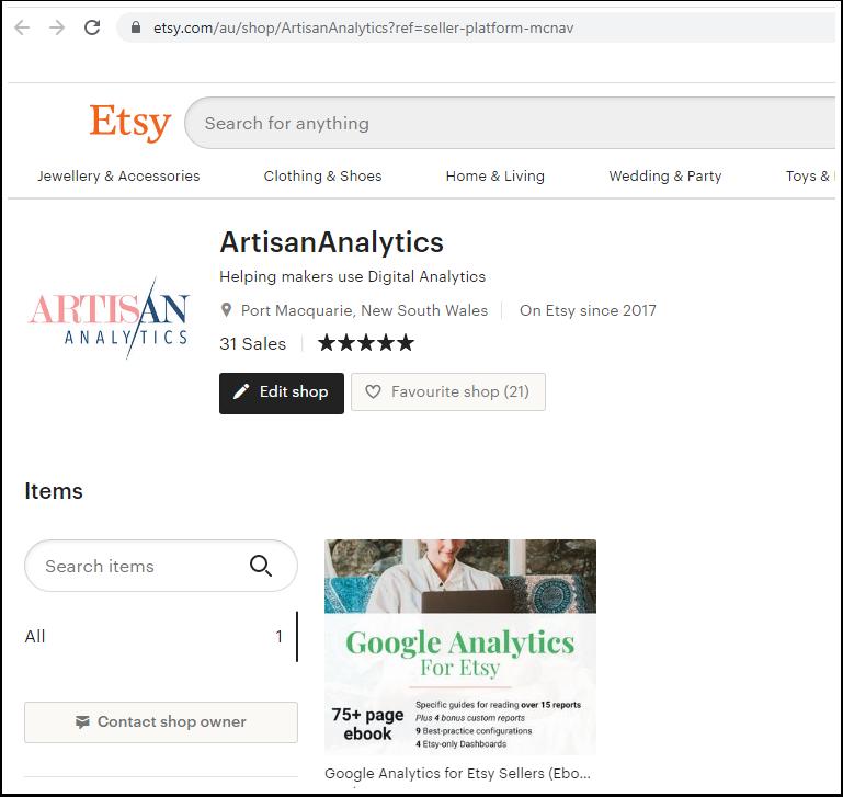 Screenshot of the Artisan Analytics public Etsy shop front.