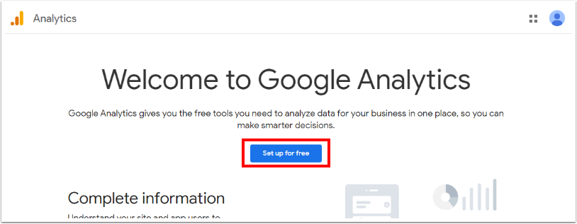 Screenshot of the Google Analytics landing page after you login, as at January 2021.