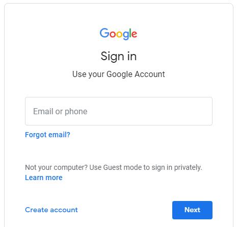 Screenshot of the standard Google signin form.